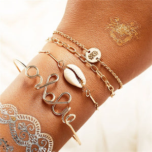 17KM 5PCS/Set Shell Bohemian Bracelets & Bangles Set Vintage Gold Multi layer Charm Bracelet For Women 2019 Fashion Jewelry