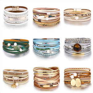 17KM New Vintage Pearl Beads Leather Bracelets & Bangles For Women 2019 Handmade