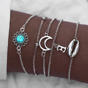 17KM Vintage Moon Shell Link Bracelets Set For Women Bijoux Silver Color Bracelet Bangles Adjustable Female Jewelry Boho Gifts