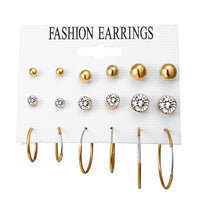 17MILE Fashion Crystal Beads Stud Earrings Set For Women Geometric Big Circle Earring Statement Female Party Jewelry Gifts New