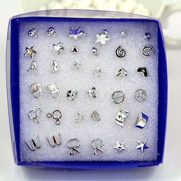 18Pairs Mix Silver Plated Plastic Ear Stud Earring Set Bohemian Earrings Stud Jewerly For Girls Jewelry 3 Syles