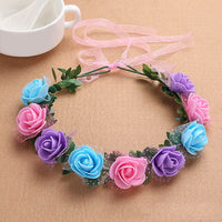 18cm Head  Wreath Headdress Artificial Silk Floral hair Garland  Wedding Holiday Artificial Floral Garland Lace Headwear M15