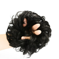 1PC Black Curly Fake Hair Bun Ponytail Extensions Short Hair Synthetic Messy Donut Hair Drawstring Ponytail For Woman