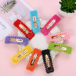 1PC Chic Colorful Beads Hair Clip Rectangle WaterDrop Barrettes Hair