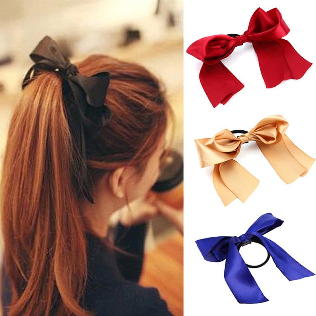 1PC Women Tiara Satin Bow Tie Scrunch Hair Band Ribbon Scrunchie Ponytail Holder