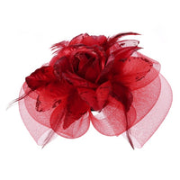 1PC Womens Party Fascinator Veiling Cocktail Hat Hair Clips Mesh Rose Flower Bridal