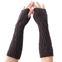 1PCSWinter Braided Knitted Half Finger Gloves Solid Color Elbow Length