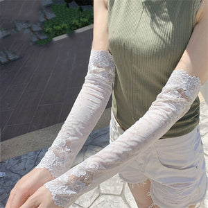 1Pair Summer Sexy Long Lace Arm Sleeve For Women Sunscreen Bracers Elasticity