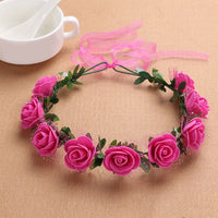 1Pc Boho Flower Wreath Garland  Wedding Holiday Head Jewelry Wreath Headdress Artificial Floral Garland Lace Headwear