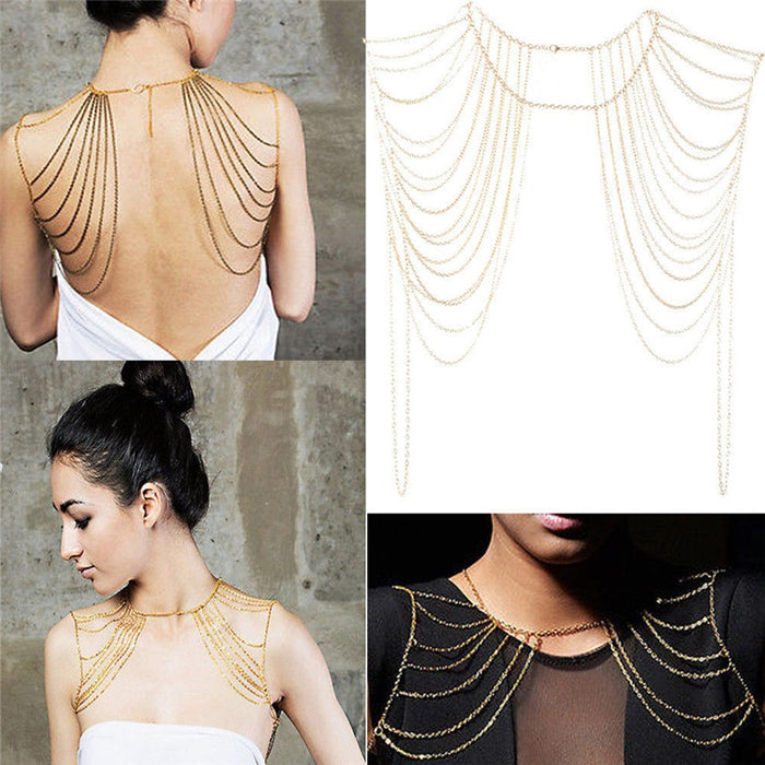 1Pcs Gold Silver Bohemian Punk Necklaces Collar Shoulder Chain Long Necklaces Pendants Women Statement Body Jewelry