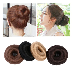 1Pcs Women Synthetic Fiber Hair Bun Donuts Ring Blonde Hair Extension Wig Elastic Wrap Holder Hair Styling