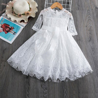 Spring Autumn Full Sleeves Girls Clothing Beige Wedding Dress Flower Embroidery