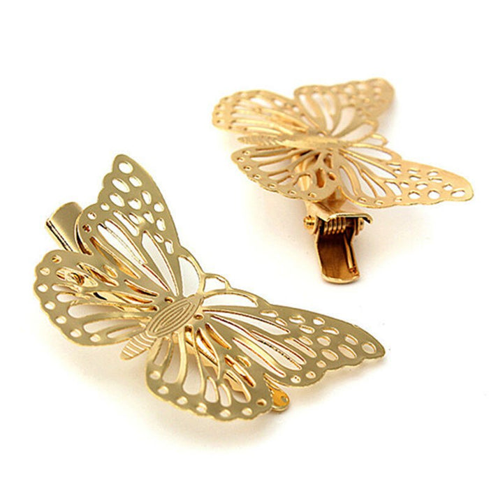 2 Pcs Hair Accessories Headwear Hair Grips Metal Gold Butterfly Hair