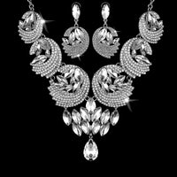 2 Piece Sets Earring necklace Ladies's Alloy + Glass drill Earrings Necklace Set Wedding Jewelry Gift Sets