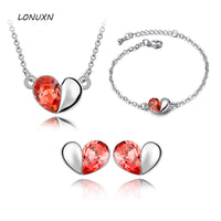 2 colors Austrian Crystal high quality red blue bridal women jewelry sets necklace + earrings + bracelet three-piece lovers gift