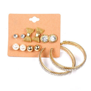 20 Pair/ kit Vintage Beauty Crystal Pearls Heart Bow Stud Earrings Set Women Wings Star Alloy Earring Jewelry Gifts