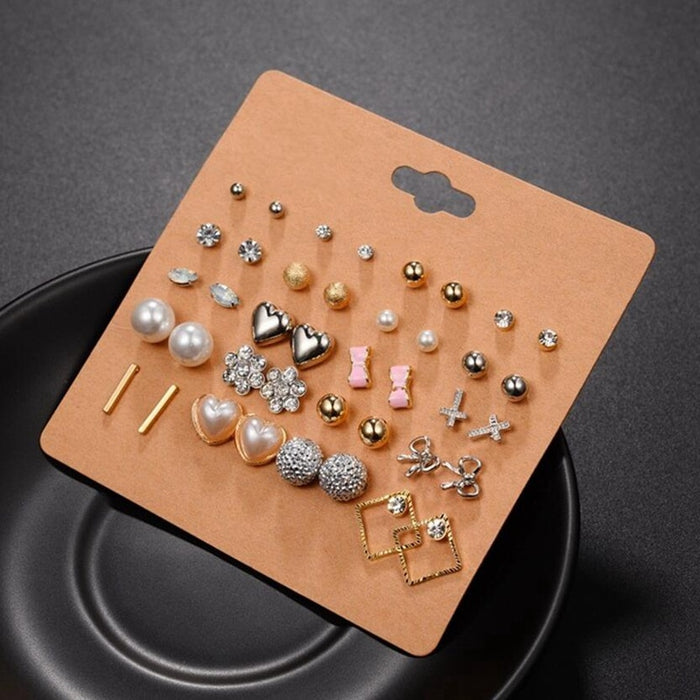 20 Pairs Pack Elegant Mixed Geometric Heart Flower Stud Earrings Set For Women Lady Crystal Rhinestone Earing Jewelry Wholesale