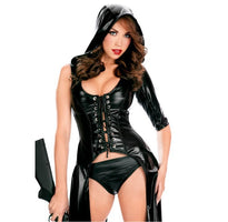 2015 New Arrival Sexy Punk Fetish Black Latex Catsuit Faux PU Jumpsuit
