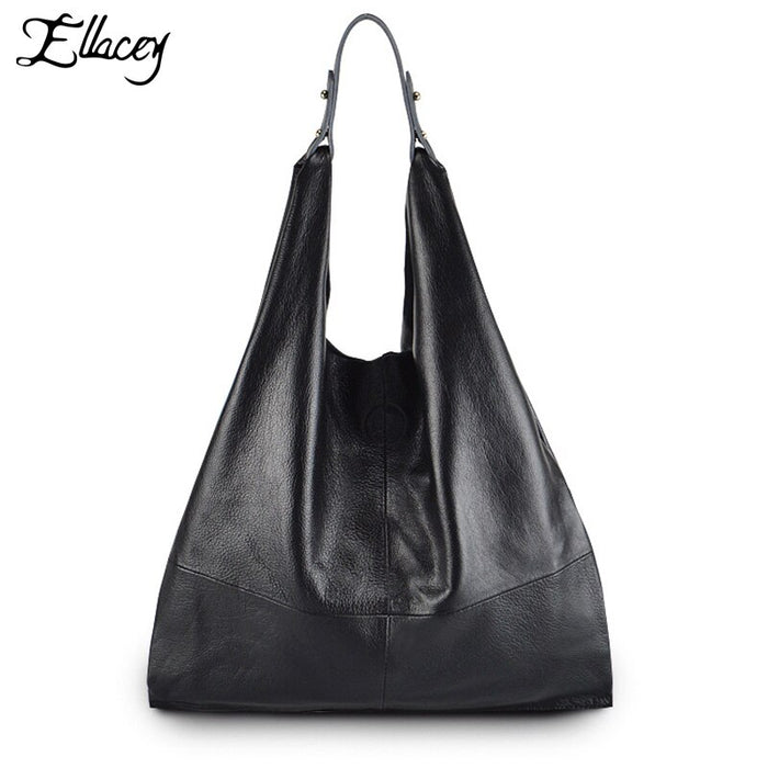 Simple Style100% Genuine Leather Women Classic Luxury Hobo Bag Cowhide ladies' Shoulder bag Totes