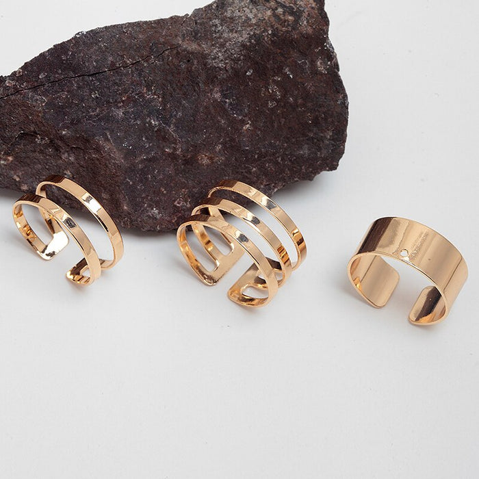 Stacking Ring Punk Style Hollow Out Midi Ring Sets New Arrival Gold Color Plain