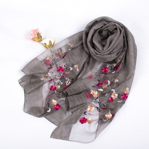 Luxury Brand Women Foulard Fashion Silk Solid Scarf Embroidered Scarf Flower