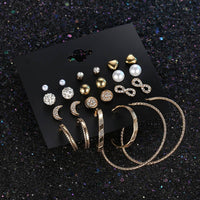 2017 New Style Mixed 12 Pairs/Set Round Design Stud Earring Set Gold Color Week Stud Earrings Set Jewelry For Women Girl Gift