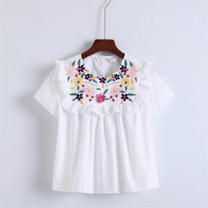 New White Round Neckline Short Sleeves Hip-length Top