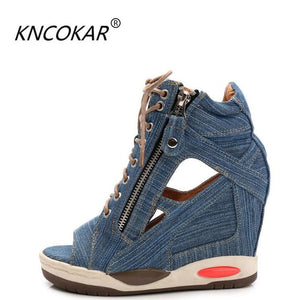 new denim is bottom thick waterproof with wedge open-toed sandals high heels