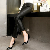 2017 women new leather pants solid color tight nine points flap pants