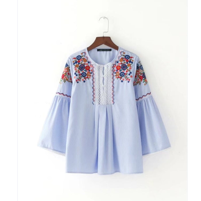 2017 women vintage fashion flower Embroidery Striped Shirt tops retro