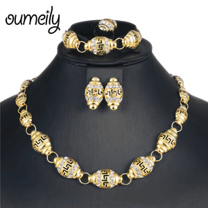 2018 African Jewelry Set Dubai Gold Silver Color Jewelry Sets For Women Wedding Jewellery Set Bridal Crystal Costume Jewelery