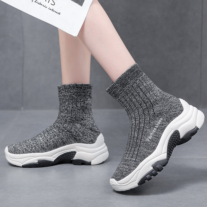 Ankle Chunky Shoes women Socks Shoes Casual Elasticit Thick Bottom boots