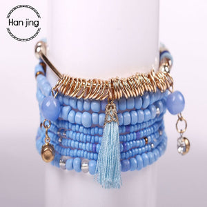 2018 Fashion Bohemian Multilayer Big Beads Charm Bracelets Set Boho Yoga Wrap