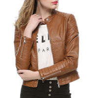 2018 Fashion Women Faux Leather Biker Jacket in Brown Black Leather Coat