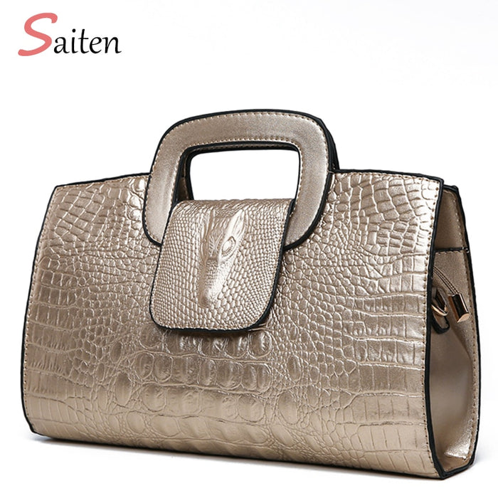 Luxury Handbag Women Bags Designer PU Leather Bags  Girl Fashion Alligator Pattern Shoulder Bag Black