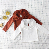 2018 New Baby Shirts Full Sleeve Shirts for Babies Plain Shirt Baby Clothing Ruffle Collar Baby Blouse