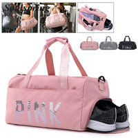 2018 New Hot Sale Pink Women Gym Fitness Bags Portable Nylon Waterproof Shoulder Bag Men Large Capacity Fashion Travel Tote Bags