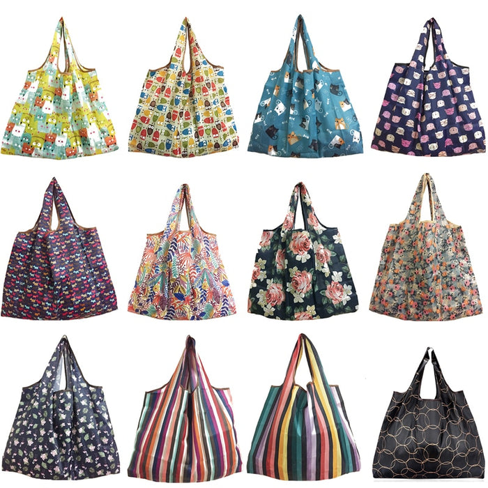 2018 New Lady Foldable Recycle Shopping Bag Eco Reusable Shopping Tote Bag Cartoon Floral Fruit Vegetable Grocery FS11