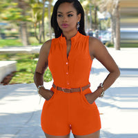 2018 New Women High waist deep v-neck Casual Sleeveless bodycon Ladies Short Pants Overalls Belt plus size tunic solid playsuits