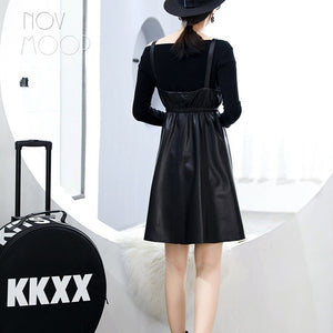 2018 New autumn spring women strap pinafore flare A-line dress robe LT2587