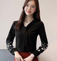 New embroidered shirts Bow tie Bodysuit Women long sleeve Chiffon blouse  Office lady Tops