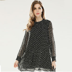 clothing fashion ladies polka dot chiffon shirt Ruffled hem female casual tops blouse