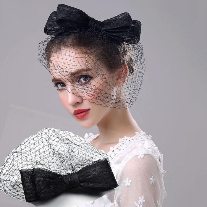 2018 Vintage Feather Mesh Wedding Hairband For Women Veiling Headdress Clip Net Veil Cocktail Hat Hair Party Hat