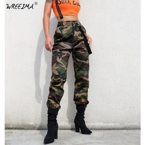 2018 autumn Women's Ladies Camo Cargo Trousers Pants Casual Pants Military Army