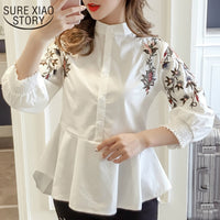 women fashion Sweet women blouse Full  Embroidery  Floral  Mandarin Collar Casual Preppy Style shirts