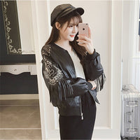 2018 new fashion leather jacket collar fringed leather female baseball