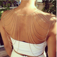 2018 new women girl Fashion Charm Gold  Tassels Link Body Shoulder Chain statement necklace BYD06