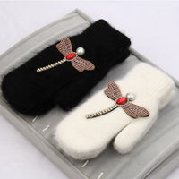 2018 women Gloves winter Crystal dragonfly Rabbit fur brand gloves