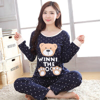 Autumn Cotton Polka Dot Pajamas Sets for Women Long Sleeve Sleepwear