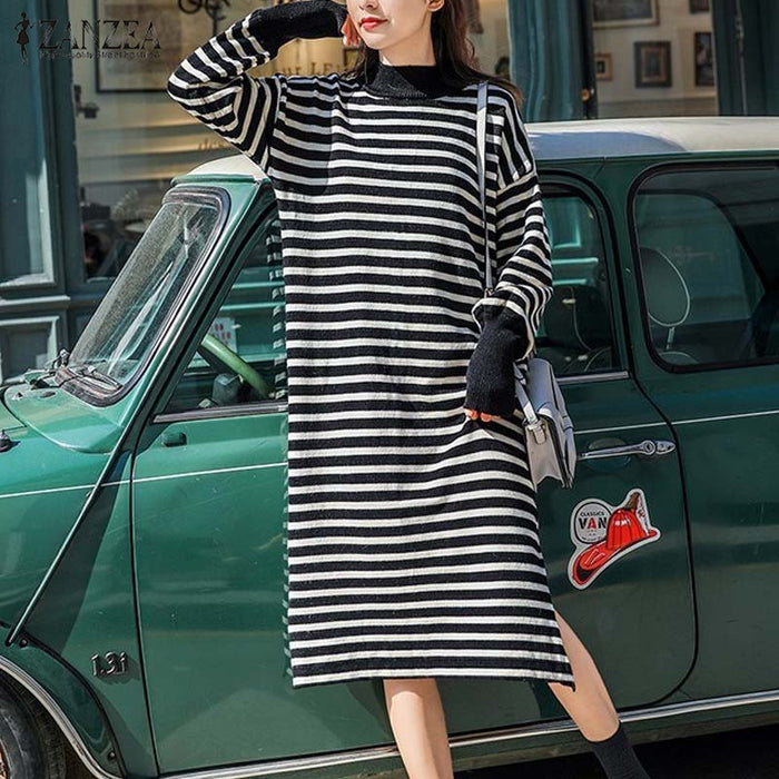 2019 Autumn Sweatshirt Dress ZANZEA Women Striped Dress Casual Turtleneck Long Sleeve Long Vestido Female Fashion Split Sundress